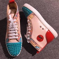 Cl Christian Louboutin Lou Spikes Style #2216 Sneakers Fashion Shoes - Best Deal Online