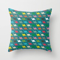 Colorful Dinosaurs Decorative Pillow