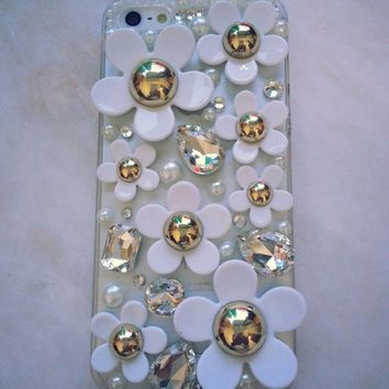 New Chic Elegant White Daisy Flowers Crystals Rhinestones Transparent Mobile Cell Phone Case for iPhone 4s 5s Sasmung - Casemoda | Pinkoi