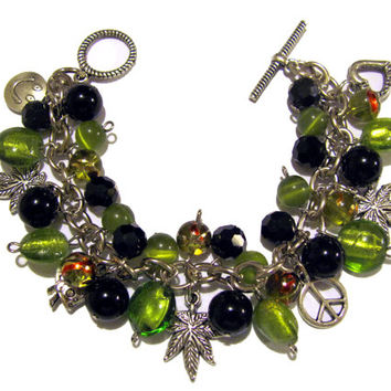 Legalize It Marijuana Charm Bracelet Green and Black Beaded Jewelry