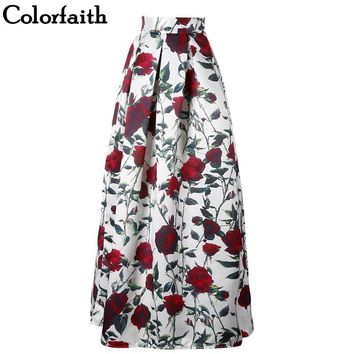 NEW Long Skirt Womens 100cm Floor-Length Flared Fashion Satin Vintage Floral Print High Waist Pleated Maxi Skirt Saia SK11
