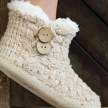 Cable Knit Button Slippers
