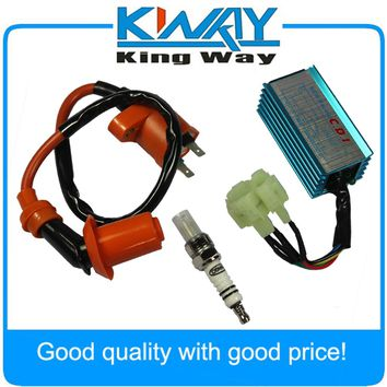 Free Shipping-Racing Ignition Coil Spark Plug Cdi Fits For Gy6 Scooter Go Kart 150cc 125cc 50cc ATV