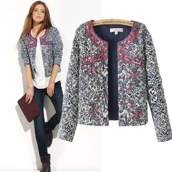 DCCKHY9 2015 Fashion New Europe winter blue and white printed Women cotton Floral Slim Jacket Coat women embroidery slim outwear Blazer