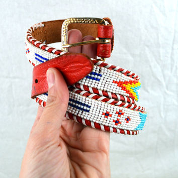 Vintage Leather Seed Bead Native American Southwest Belt - Thunderbird