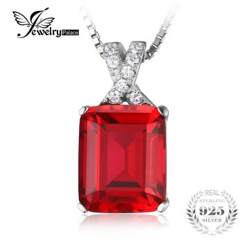 JewelryPalace Emerald Cut 6.1ct Created Red Ruby Pendant Necklace 925 Sterling Silver 45cm Box Chain Fine Jewelry for Women