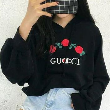 GUCCI Hot Sale Embroidery Rose Flower Blouse loose type Hoodie Sweatershirt Black-1