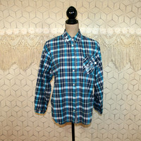 Teal Blue Plaid Shirt Womens Blouses Hipster Grunge Button Up Top Cotton Long Sleeve Embroidered Shirt Small Medium 80s 90s Vintage Clothing