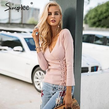 Simplee Causal lace up v neck knitted sweater women Slim skinny winter sweater jumper 2017 Autumn knit pull femme pullover