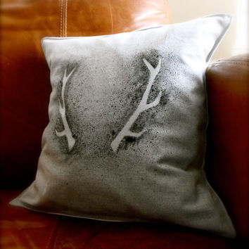 Hipster cool stag antler hand made paint splash cushion pillow cover