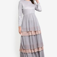 Pleated Tulle Fit & Flare Dress