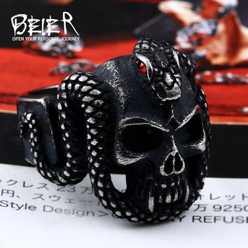 Beier 316L Stainless Steel retro style Vintage snake ring with red stone devil skull biker exquisite jewelry for men LR524