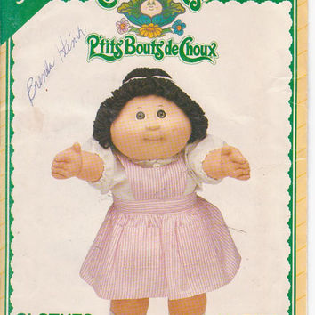 Pattern for Cabbage Patch Kids candy striper bib front jumper and high neck blouse See and Sew by Butterick 5422 CUT and COMPLETE