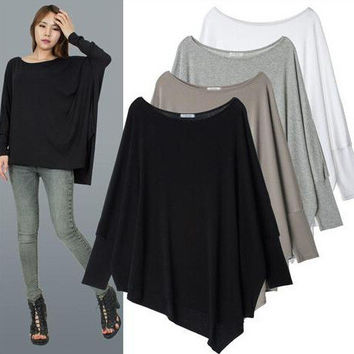 Batwing Sleeve Plus Size Strong Character Irregular T-shirts [6339008129]
