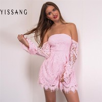 Yissang  Lace Hollow Out Strap Jumpsuit Romper 2017 Women Sexy Strapless Backless High Waist Overalls Summer Party Pink Playsuit