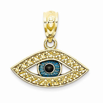 14k Two Tone Gold Enameled Eye Charm Pendant