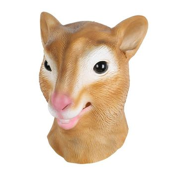 Hot Sale Mask Latex Deluxe Novelty Halloween Costume Party Squirrel Female Cow  Animal Head Mask