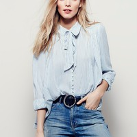 Free People Striped Modern Muse Blouse
