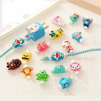 Cute Cartoon Cable Protector Data Line Cord Protector Protective Case Cable Winder Cover For iPhone USB Charging Cable 41 Styles