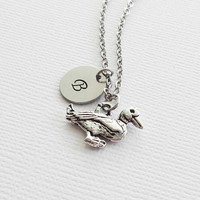 Duck Pewter Necklace Duckling Goose Flying Bird Animal Necklace BFF Friend Gift Silver Initial Jewelry Personalized Monogram Hand Stamped