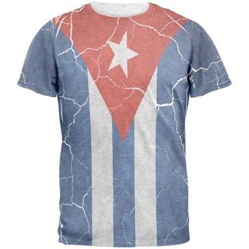 ONETOW Distressed Cuban Flag Mens T Shirt
