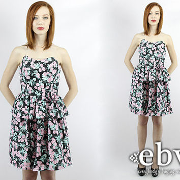 Vintage 80s Strapless Floral Peplum Mini Dress XS S Floral Mini Dress Strapless Dress Bustier Dress Party Dress Floral Dress