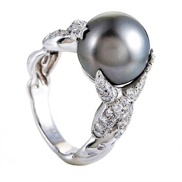 Chanel Black Tahitian Pearl Diamond Gold Ring