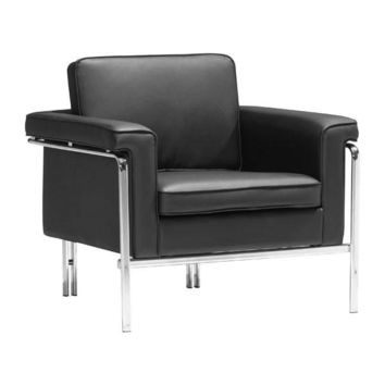 Singular Arm Chair Black Chromed Steel