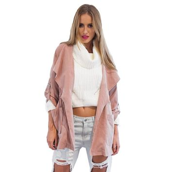 Spring Autumn 2016 New Women Pink Coat Casual Loose Wide Lapel Coats Female Outwear With Belt Wide-waisted Lady Trench