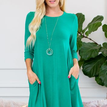 Premium 3/4 Sleeve Swing Pocket Tunic Dress