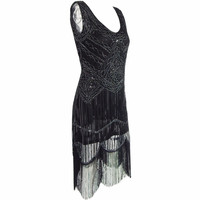 Women Vintage 1920s Great Gatsby Sequin Beaded Double Side Scalloped Hem Flapper Party Dress Vestido De Festa