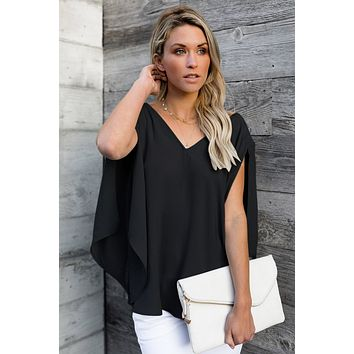 Trendy Black V-Neck Bowknot Three-Quarter Sleeve Blouse