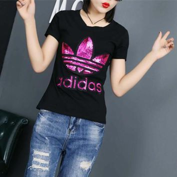 Adidas Fashion Casual Clover Letter Embroidery Sequin Round Neck Short Sleeve T-shirt Shirt Top Tee