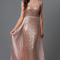 Chiffon Overlay Floor Length Sequin Prom Dress by Elizabeth K