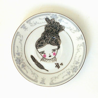 hand painted plate -girl plate