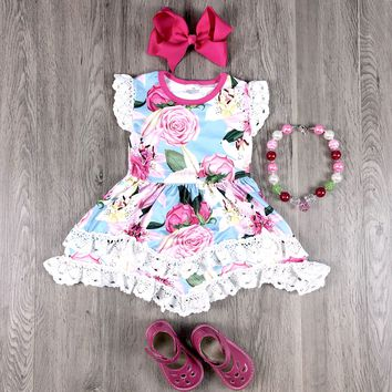 RTS White Lace Hot Pink Floral Dress D98