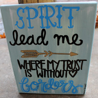 Spirit Lead Me // Oceans lyrics // 8x10 inch canavs // gray, black and blue