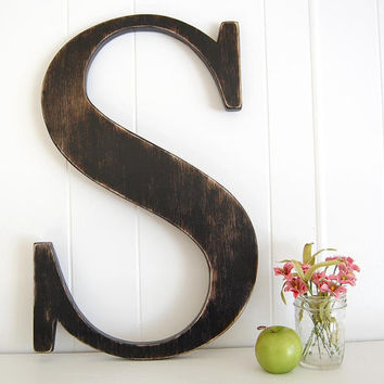 "12"" wooden letter S - wall art signage rustic americana Lamp Black - Letter S"