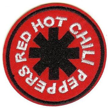 Red Hot Chili Peppers Iron-On Patch Red Round Logo