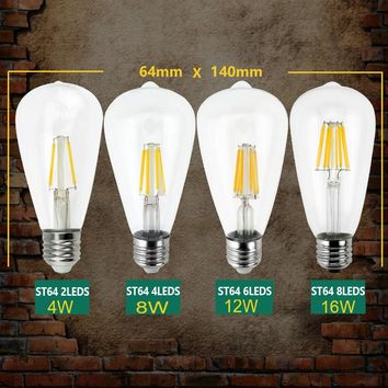 LightInBoxEdison Lamp Lamp Antique Retro Vintage Led E27 E14 Filament Light Glass Bulb ST64 220V 240V 4W 8W 12W 16W