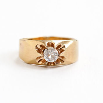 Antique 10K Yellow Gold Filled Rhinestone Ring - Vintage 1920s Art Deco Size 12 Belcher Setting Men's Jewelry