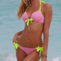 Halter Push Up Bow Tying Bikini