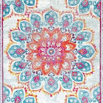 9937 Pink Medallion Distressed Contemporary Area Rugs