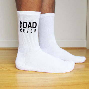Fathers Day Best Dad Ever, Super Dad, Father's Day Gift Idea, White Custom Printed Men's Crew Socks- Sold as a set of 3 pairs