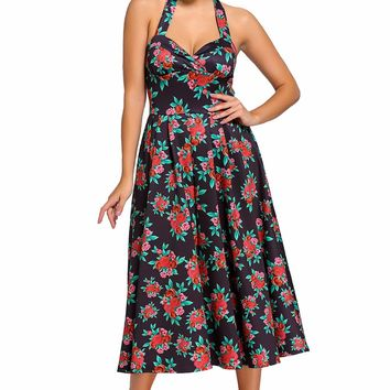 Chicloth Retro Rose Floral Halter Black Cannes Swing Dress