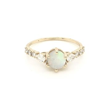 14kt Opal & Diamond Lake Como Ring