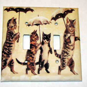 Double Light Switch Cover - Light Switch Plate Cats with Umbrellas Louis Wain