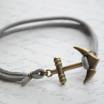 SALE--Summer Bracelet No.51--  Double strand gray suede bracelet- Anchor clasp
