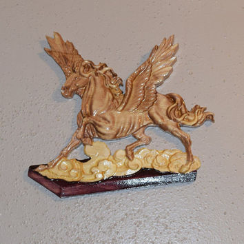 Flying Pegasus Wood Carving Art Mythical Sign Wall Hanging Mystical Flying Horse Wood Plaque Ready to Hang Handmade in USA Texas