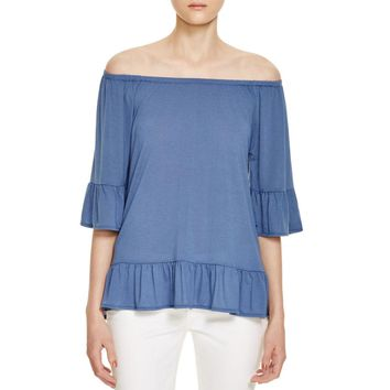 Design History Womens Off-The-Shoulders Ruffled Hem Peasant Top